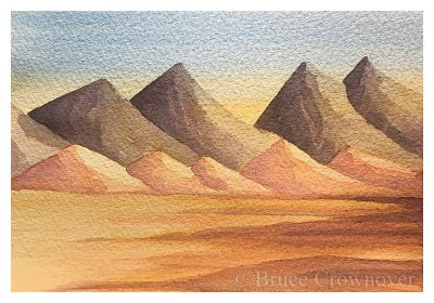 Bruce Crownover - Armagosa Valley series watercolor postcard